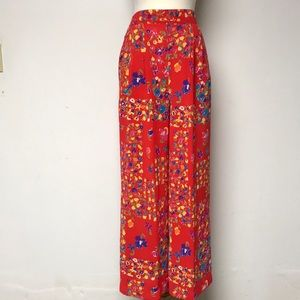 Vintage 1990's Red Floral Palazzo Pants
